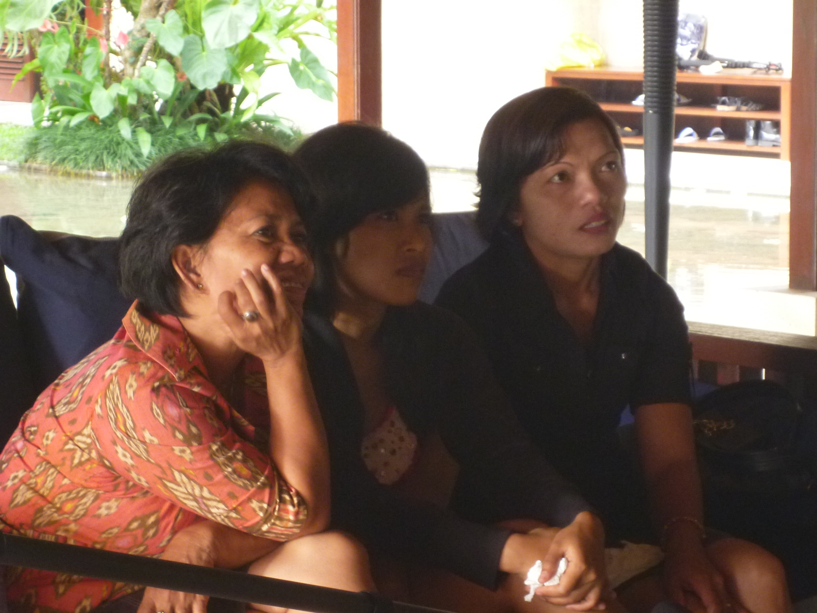 Private screening. From left: Mrs. Anggreni, local collaborator Sri, and Dewi